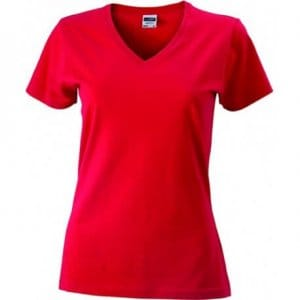 dames-t-shirt-v-hals-slim-fit rood