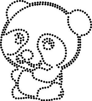 panda stippelpatroon voor SS10 hotfix steentjes