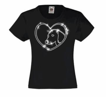 Kinder T-shirt met hond en hart in strass steentjes