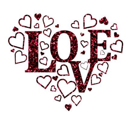 Glitter Strijkapplicatie Love met Hartjes