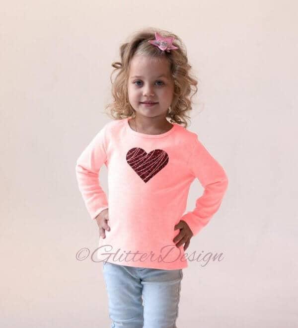 Strijkapplicatie Glitter hart op roze sweatshirt