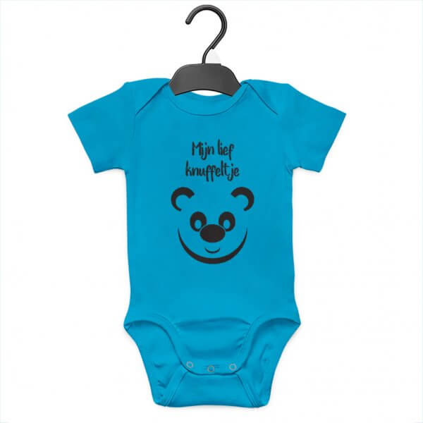 Blauwe Baby Rompertje met tekst