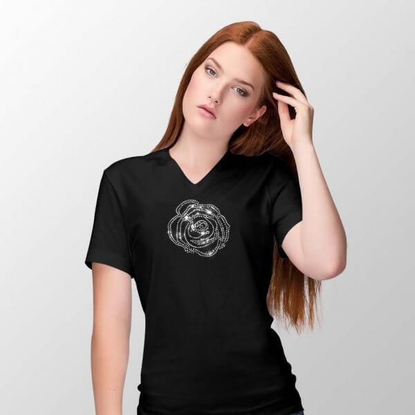 T-shirt V-hals met roos met glitter