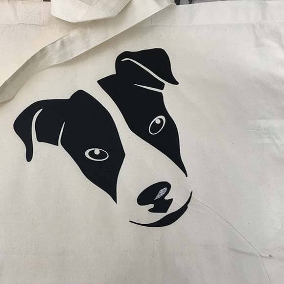 Draagtas bedruk met Hond in Flexfolie