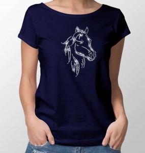 T-shirt met paard in strass -steentjes