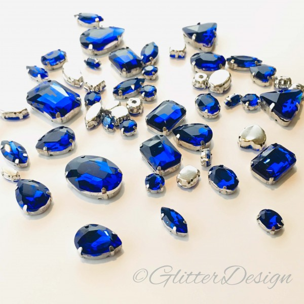 Glitter opnaaistenen blauw