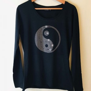 Yin Yang glitter shirt Dames Lange Mouwen